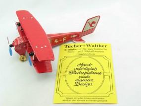 Blechspielzeug - Flugzeug Doppeldecker rot D