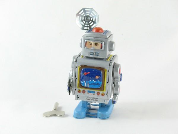 Blechspielzeug - Roboter mit Satellitenantenne, silber