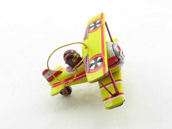 Blechspielzeug - Deko-Doppeldecker Flugzeug