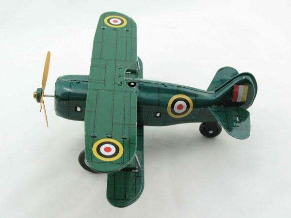 Blechspielzeug - Flugzeug Doppeldecker Curtis, grün