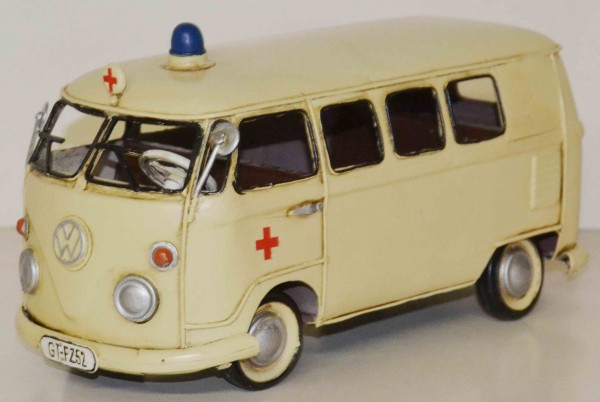 Blechmodell - VW-Bus, Bulli, Krankenwagen/Ambulanz