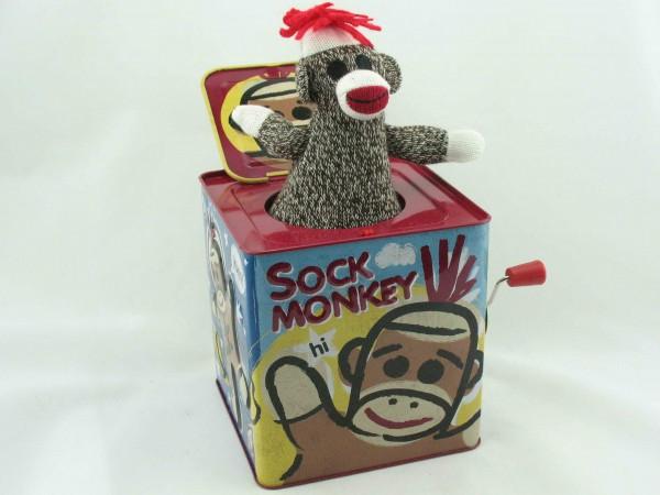 Blechspielzeug - Jack in the Box Socken Affe SMJB
