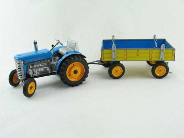 Traktor Zetor mit Anhänger, blau, METALLFELGEN, Kovap-Neuheit 2019