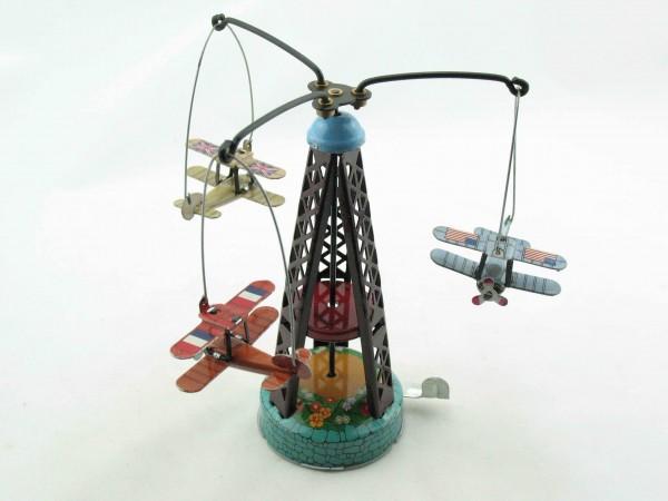 Blechspielzeug - Karussell mit Doppeldeckerflugzeugen