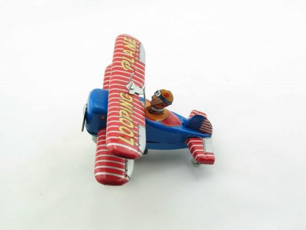 Blechspielzeug - Doppeldecker - Flugzeug mit Überschlag Looping plane