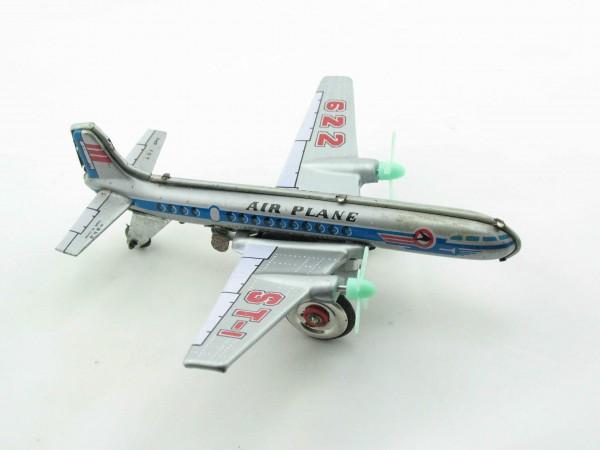 Blechspielzeug - Propellerflugzeug, silbern