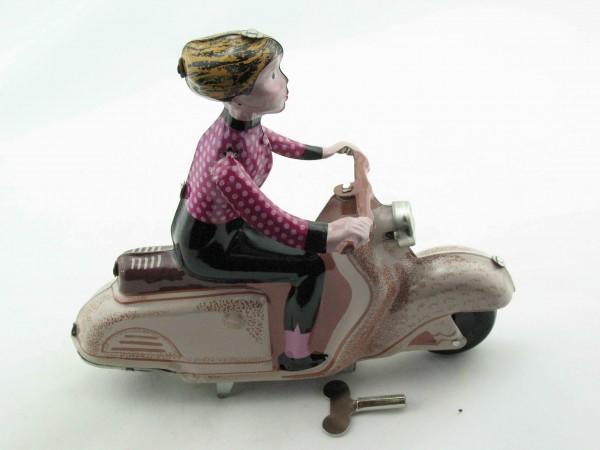 Blechspielzeug - Motorrad Scooter Girl auf Motorroller, braun-rosa