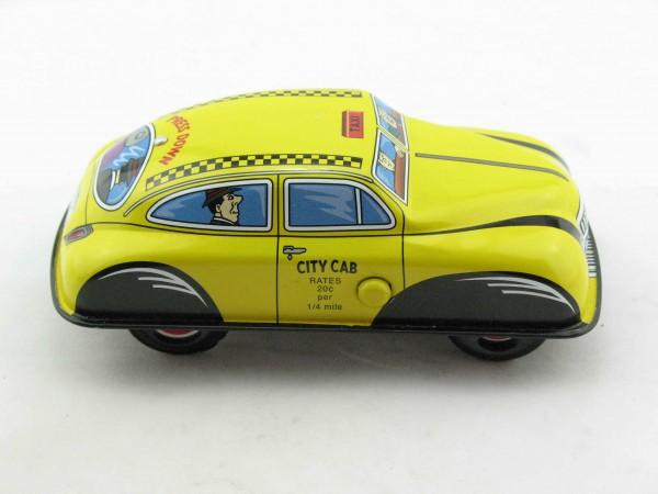 Blechspielzeug - Auto Press down Car Taxi gelb aus Blech