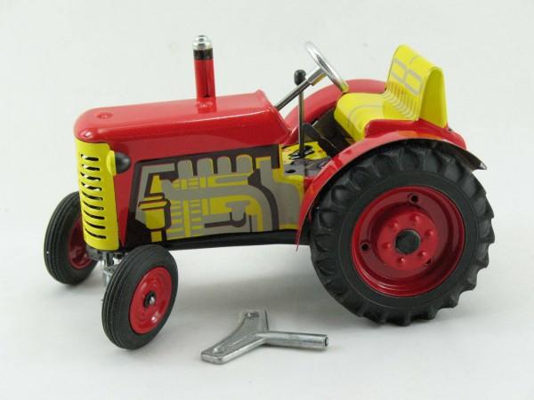 Traktor Zetor rot mit METALLFELGEN, Kovap-Neuheit 2019 – Blechspielzeug