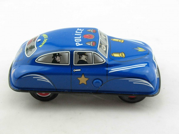 Blechspielzeug - Auto Press down Car Polizei blau aus Blech