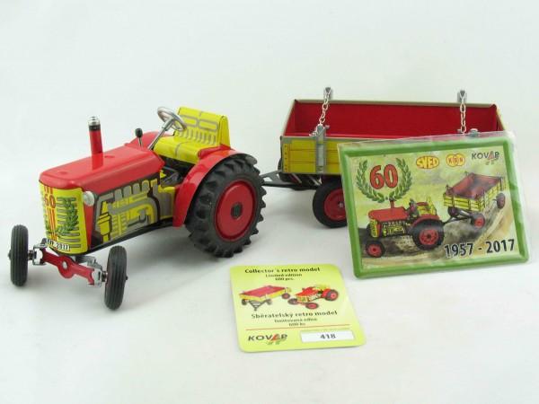 Zetor Jubiläumstraktor mit Anhänger '60 Jahre', limitiert von KOVAP - Blechspielzeug