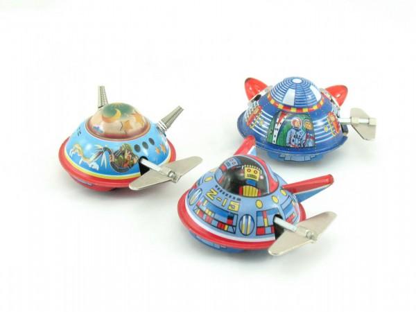 Blechspielzeug - Raumschiff/Ufo, Space Surveyor X-12, 3er Set mit Uhrwerk