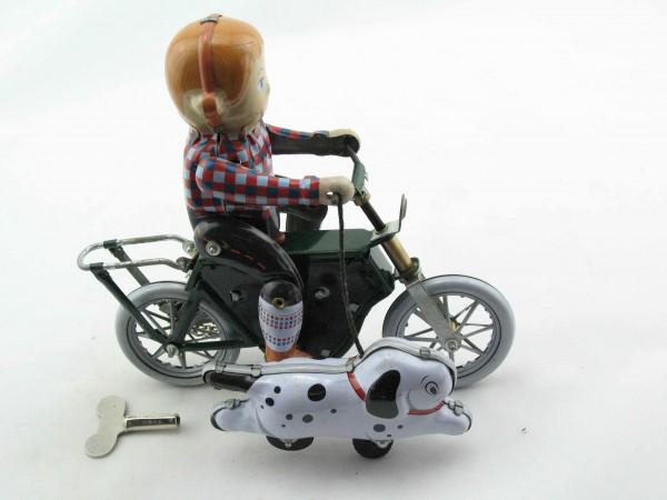 Blechspielzeug - Junge auf Fahrrad mit Hund