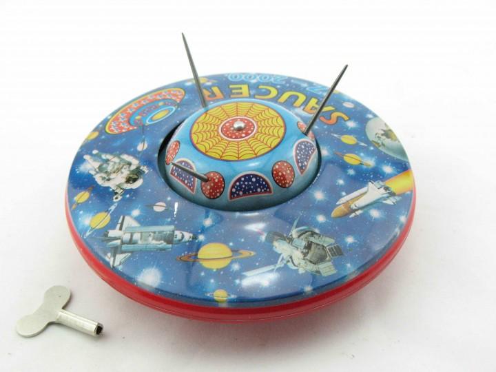 blechspielzeug ufo flying saucer space toys roboter figuren nostalgisches. Black Bedroom Furniture Sets. Home Design Ideas