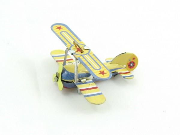 Blechspielzeug - Mini Doppeldecker Flugzeug in Schachtel