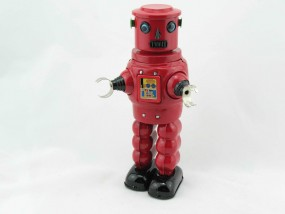 Blechspielzeug - Roby Robot rot
