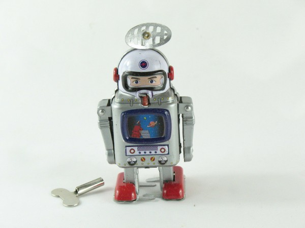 Blechspielzeug - Roboter Astronaut mit Monitor und Antenne