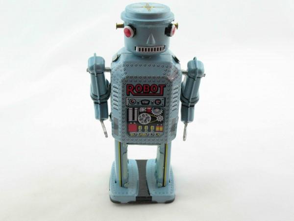 Blechspielzeug - Roboter, 14 cm hellblau/türkis