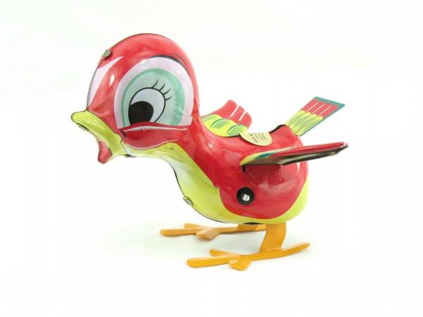 Blechspielzeug - Blechvogel rot gelb