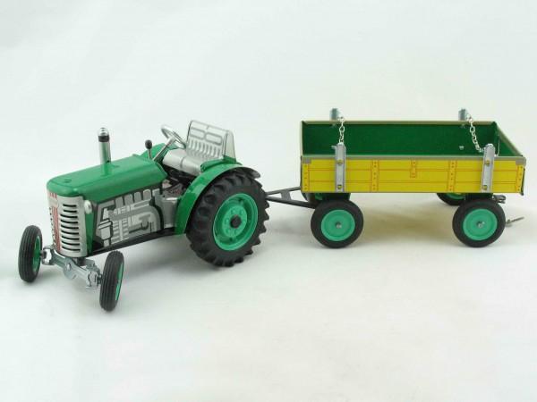 Traktor ZETOR mit Anhänger, grün von KOVAP - Blechspielzeug