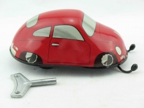 Wendeauto Porsche 356, Sondermodell rot von KOVAP - Blechspielzeug