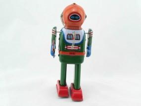 Blechspielzeug - Roboter Astronaut Phaser, grün/rot
