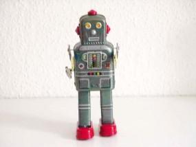 Blechspielzeug - Roboter Space Man, 20 cm grau