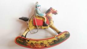 Blechspielzeug - Deko Schaukelpferd mit Reiter