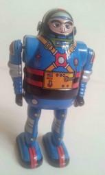 Blechspielzeug - Roboter Astronaut mit beweglichen Armen, blau, ca. 13 cm