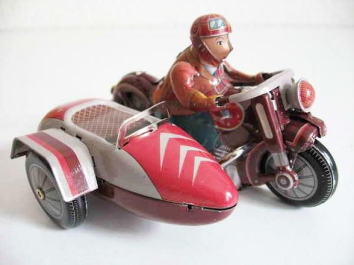blechspielzeug motorrad mit beiwagen rot motorr der. Black Bedroom Furniture Sets. Home Design Ideas