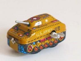 Blechspielzeug - Panzer mit Schlüssel in Tarnfarben
