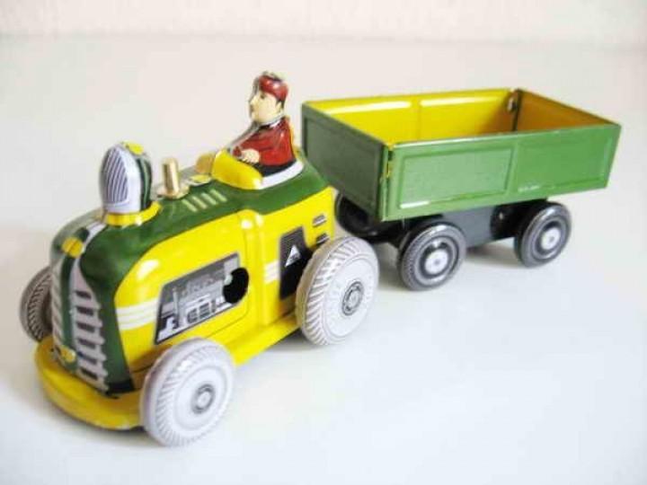 blechspielzeug traktor mit anh nger aus blech autos andere fahrzeuge fahrzeuge. Black Bedroom Furniture Sets. Home Design Ideas
