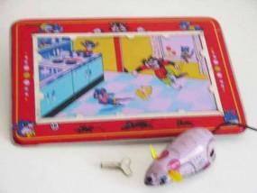 Blechspielzeug - Maus auf Blechtafel, Lucky Mouse