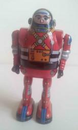 Blechspielzeug - Roboter Astronaut mit beweglichen Armen, rot, ca. 13 cm