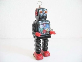 Blechspielzeug - Roboter Zahnrad, High-Wheel Robot, schwarz